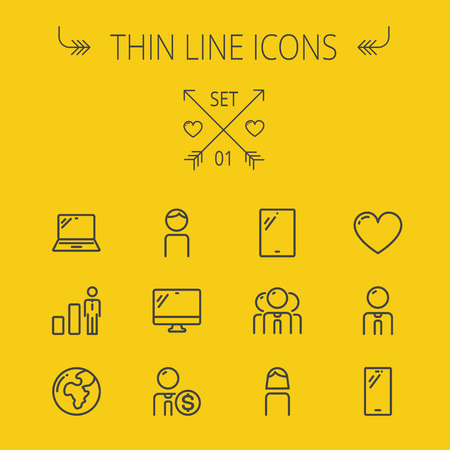 wireless signal: Technology thin line icon set for web and mobile. Set includes - laptop, monitor,video global, smartphone, heart. Modern minimalistic flat design. Vector dark grey icon on yellow background