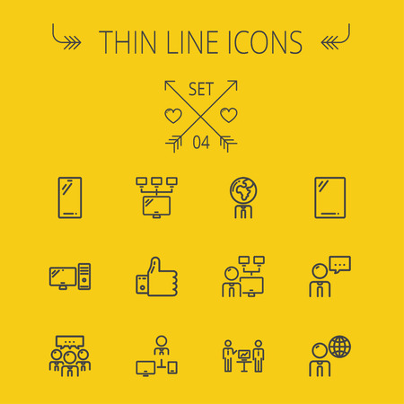 computer cpu: Technology thin line icon set for web and mobile. Set includes - Mobile phone, gadget, computer, CPU, global thumbs up, presentation. Modern minimalistic flat design. Vector dark grey icon on yellow background.