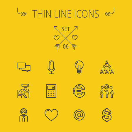 thin bulb: Business thin line icon set for web and mobile. Set includes- calculator, euro, dollar, heart, bulb, speech bubble, tired man, microphone icons. Modern minimalistic flat design. Vector dark grey icon on yellow background. Illustration