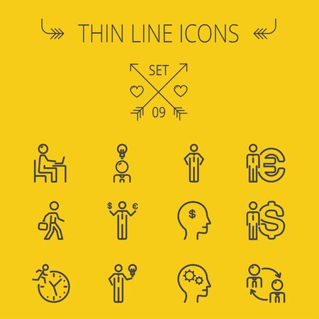 web design background: Business thin line icon set for web and mobile. Set includes-head, Euro, US dollar, clock, head, laptop, bulb, businessman icons. Modern minimalistic flat design. Vector dark grey icon on yellow background.