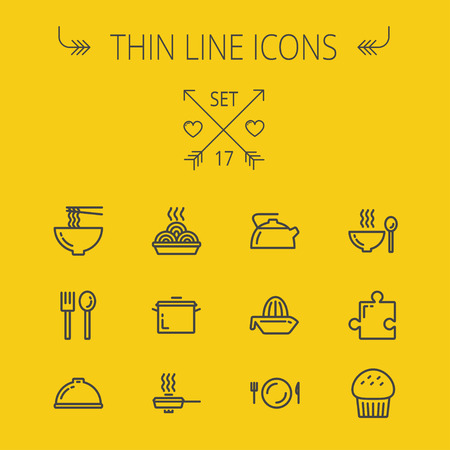 Food thin line icon set for web and mobile. Set includes- cupcakes, spoon and fork, plate, kettle, casserole, hot meal, frying pan icons. Modern minimalistic flat design. Vector dark grey icon on yellow background.