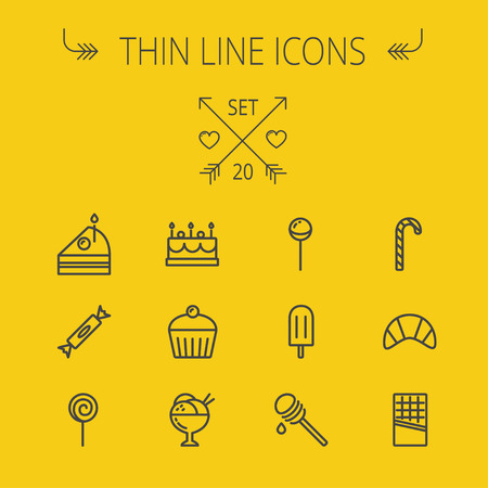 honey cake: Food and drink thin line icon set for web and mobile. Set includes- cake, candy, lollipop, cupcake, ice cream, honey dipper, popsicle, waffle icons. Modern minimalistic flat design. Vector dark grey icon on yellow background.