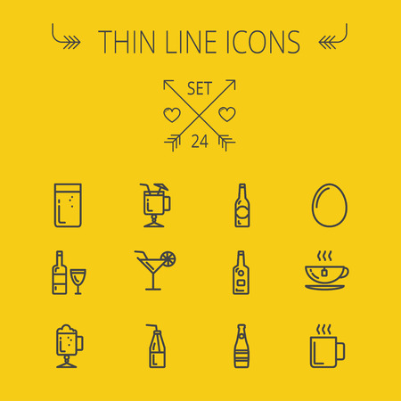 Food and drink thin line icon set for web and mobile. Set includes- coffee, soda, lime, egg, bottle, cocktail drink, glass, wine glass icons. Modern minimalistic flat design. Vector dark grey icon on yellow background. 向量圖像