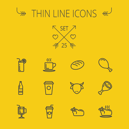 lime juice: Food and drink thin line icon set for web and mobile. Set includes- coffee, soda, lime, juice, bread, poprk meat, chicken, cow, fried chicken icons. Modern minimalistic flat design. Vector dark grey icon on yellow background.