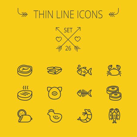 Eten en drinken dunne lijn icon set voor web en mobiel. Set omvat-biefstuk, worsten, vis, krab, garnalen, kreeft pictogrammen. Moderne minimalistische platte design. Vector donker grijs pictogram op gele achtergrond.
