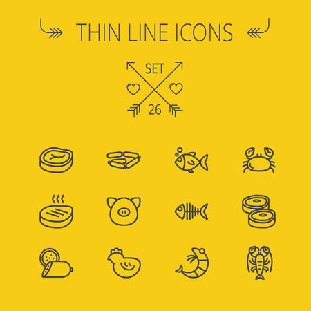 Food and drink thin line icon set for web and mobile. Set includes- steak, sausages, fish, crab, shrimp, lobster icons. Modern minimalistic flat design. Vector dark grey icon on yellow background. Иллюстрация