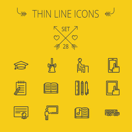 Education thin line icon set for web and mobile. Set includes- graduation cap, bell, notepad, bus, certificate, tablet, blackboard, books, workplace icons. Modern minimalistic flat design. Vector dark grey icon on yellow background. Stock Vector - 41987539