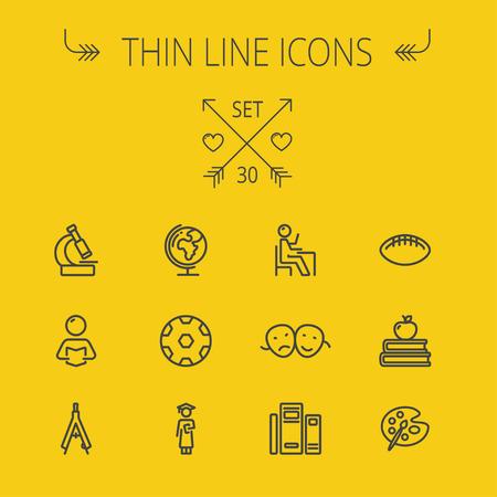 pallette: Education icône de la ligne mince fixé pour le web et mobile. Définir comprend-mondiaux, des livres, une boussole, pallette, balles, deux têtes de lecture, les icônes. Design plat moderne et minimaliste. Vecteur gris foncé icône sur fond jaune.