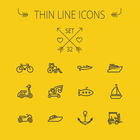 Transportation thin line icon set for web and mobile. Set includes- golf cart, trucks, motor, boat, submarine, anchor, scooter icons. Modern minimalistic flat design. Vector dark grey icon on yellow background.