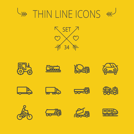 Transportation thin line icon set for web and mobile. Set includes- sports car, trucks, vans, bicycle, towing truck, mixer truck, train, vintage car icons. Modern minimalistic flat design. Vector dark grey icon on yellow background. Illusztráció