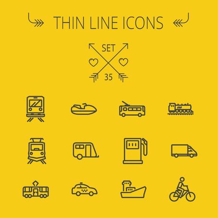 교통 얇은 라인 아이콘 웹 및 모바일에 대 한 설정. 세트 포함 - 요트, 기차, 자전거, 가스 탱크, 선박, 밴, 경찰차, 보트, 모터, 아이콘. 현대적인 최소한