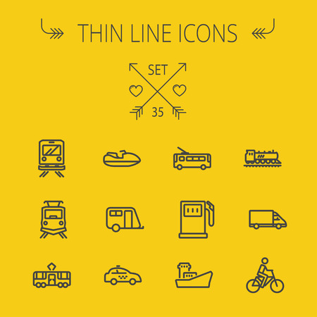 tank ship: Transportation thin line icon set for web and mobile. Set includes- yacht, train, bicycle, gas tank, ship, van, police car, boat, motor, icons. Modern minimalistic flat design. Vector dark grey icon on yellow background.