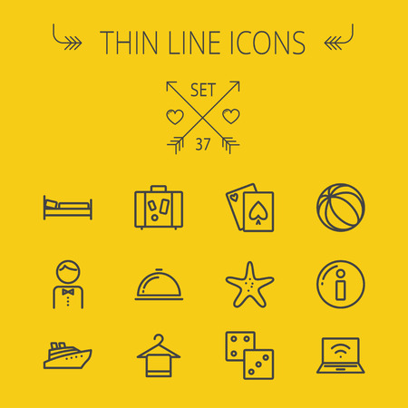 minimal: Travel thin line icon set for web and mobile. Set includes- beach ball, waiter, starfish, towel, dice, bed, luggage, laptop, wifi, card, food icons. Modern minimalistic flat design. Vector dark grey icon on yellow background. Illustration