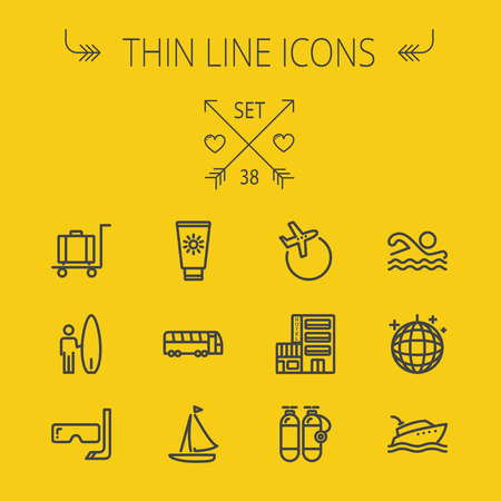 Travel thin line icon set for web and mobile. Set includes- yacht, oxygen tank, snorkel with mask, luggage, hotel, sailboat, plane, wakeboard, swimming, icons. Modern minimalistic flat design. Vector dark grey icon on yellow background.