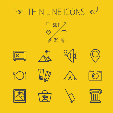 minimal: Travel thin line icon set for web and mobile. Set includes- camera, picture freame, pin location, floppers, fish, bag, table setting, tent, luggage cart, icons. Modern minimalistic flat design. Vector dark grey icon on yellow background.