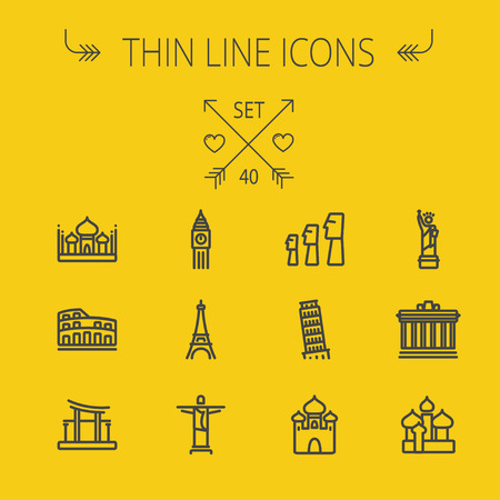 web icons: Travel thin line icon set for web and mobile. Set includes- mosque, statue, tower, clock, office building, famous gate, national library, muslim community, leaning tower pisa, icons. Modern minimalistic flat design. Vector dark grey icon on yellow backgro