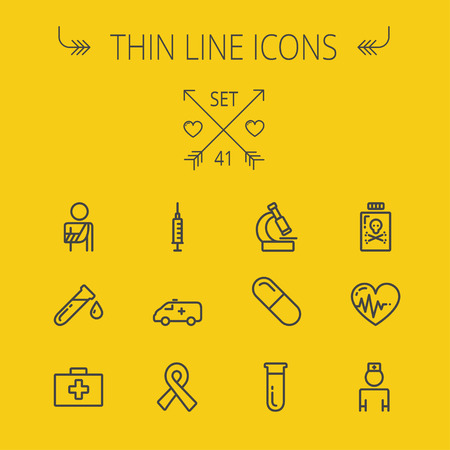 neutrons: Medicine thin line icon set for web and mobile. Set includes- heart with cardiogram, lady nurse, first aid kit, capsule, syringe, test tube, unity ribbon, ambulance icons. Modern minimalistic flat design. Vector dark grey icon on yellow background.
