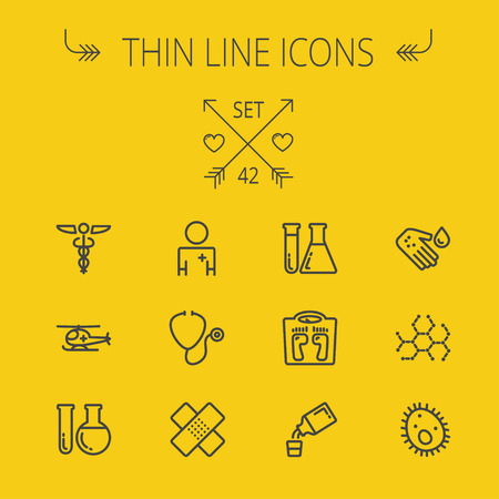 Medicine thin line icon set for web and mobile. Set includes- molecule, medicine, doctor, stethoscope, bandage, medical symbol, air ambulance icons. Modern minimalistic flat design. Vector dark grey icon on yellow background.