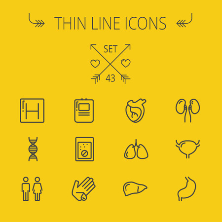 Medicine thin line icon set for web and mobile. Set includes- human internal organs, hospital, DNA icons. Modern minimalistic flat design. Vector dark grey icon on yellow background.