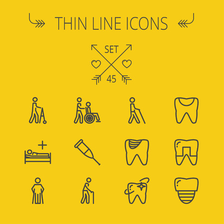 Medicine thin line icon set for web and mobile. Set includes- tooth, crutches, walker, injured person, sick person, syringe, bed, toothache, icons. Modern minimalistic flat design. Vector dark grey icon on light grey background.