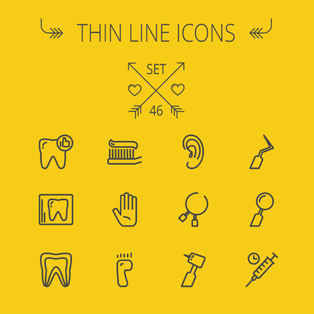 premolar: Medicine thin line icon set for web and mobile. Set includes- tooth, toothbrush, dental tools, foot, hand, syringe icons. Modern minimalistic flat design. Vector dark grey icon on light grey background.