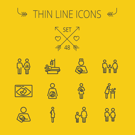 man and woman sex: Medicine thin line icon set for web and mobile. Set includes-nurse, baby, family, pregnant, mother icons. Modern minimalistic flat design. Vector dark grey icon on light grey background. Иллюстрация