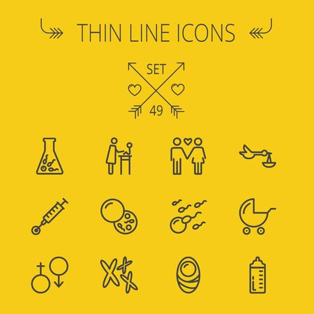Medicine thin line icon set for web and mobile. Set includes- boy, girl, tube, egg, stroller, baby, cells icons. Modern minimalistic flat design. Vector dark grey icon on light grey background.