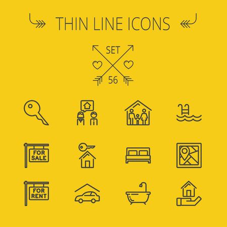 bed frame: Real estate thin line icon set for web and mobile. Set includes- key, for sale placard, house key, bed, frame, for rent placard, car garage, tub icons. Modern minimalistic flat design. Vector dark grey icon on yellow background.