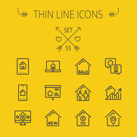 keycard: Real estate thin line icon set for web and mobile. Set includes- electronic keycard, business card, graphs, new house, couple, dollar, locator pin icons. Modern minimalistic flat design. Vector dark grey icon on yellow background.
