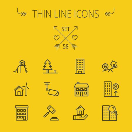 playhouse: Real estate thin line icon set for web and mobile. Set includes- pine tree, antenna, gavel, playhouse, windmill, buildings icons. Modern minimalistic flat design. Vector dark grey icon on light grey background.