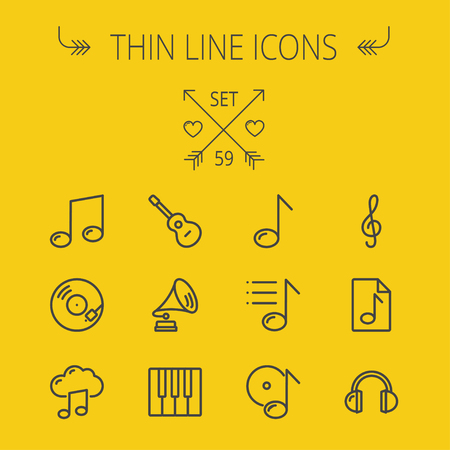 g clef: Music and entertainment thin line icon set for web and mobile. Set includes- musical notes, phonograph record, g- clef, headphone, gramophone, guitar, piano icons. Modern minimalistic flat design. Vector dark grey icon on light grey background.