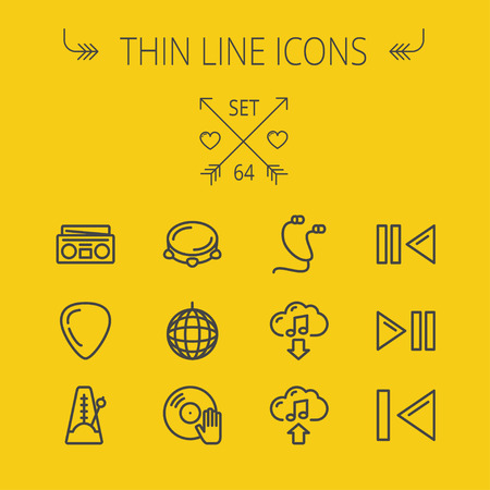 Music and entertainment thin line icon set for web and mobile. Set includes- metronome, guitar pick, upload and download, earphone, disco ball, cassette player, music button icons. Modern minimalistic flat design. Vector dark grey icon on yellow backgroun