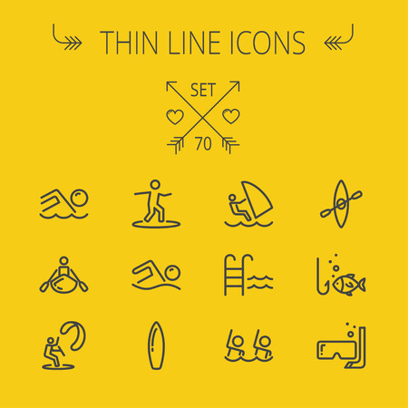 Sports thin line icon set for web and mobile. Set includes-swimming, snorkel, mask, kayak, wakeboard icons. Modern minimalistic flat design. Vector dark grey icon on yellow background.