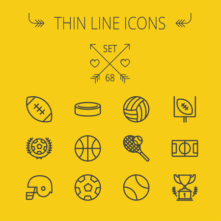 football trophy: Sports thin line icon set for web and mobile. Set includes- volleyball, basketball, hockey puck, tennis, soccer, football, trophy, helmet icons. Modern minimalistic flat design. Vector dark grey icon on yellow background. Illustration