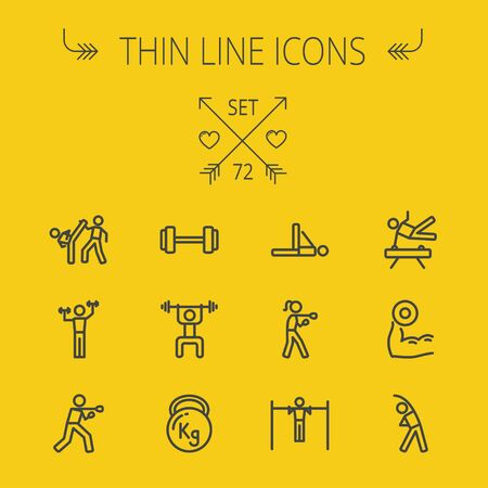 Sports thin line icon set for web and mobile. Set includes-boxing, barbel, exercise, gymnast, karate, boxing icons. Modern minimalistic flat design. Vector dark grey icon on light grey background.