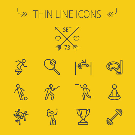 Sports thin line icon set for web and mobile. Set includes- fencing, tennis racket with ball, running, soccer, marathon, high jump, trophy, yoga, barbell, flying disc icons. Modern minimalistic flat design. Vector dark grey icon on yellow background.