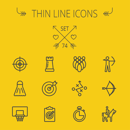 badminton: Sports thin line icon set for web and mobile. Set includes- chess rook, target board, crosshair, shuttlecock, basketball hoop, bowling pins, stopwatch, archery, bow and arrow, horse riding icons. Modern minimalistic flat design. Vector dark grey icon on y