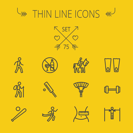 flippers: Sports thin line icon set for web and mobile. Set includes- walking exercise, hiking, baseball bat and ball, cricket game, skydiving, flippers icons. Modern minimalistic flat design. Vector dark grey icon on light grey background.