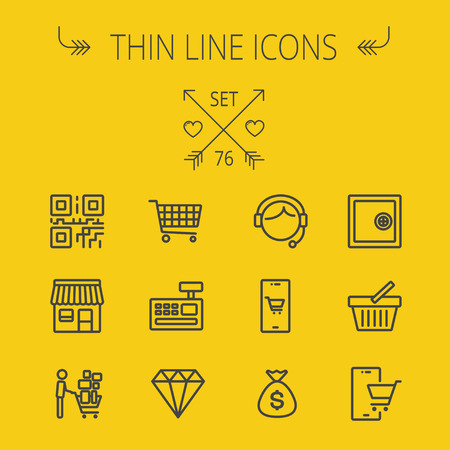 cash register building: Business shopping thin line icon set for web and mobile. Set includes- shopping cart, cash register machine, customer service, QR code, store stall, safe, vault, shopping basket icons. Modern minimalistic flat design. Vector dark grey icon on yellow backg Illustration