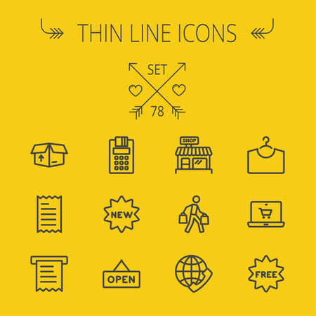 Business shopping thin line icon set for web and mobile. Set includes- electronic calculator, new tag, open sign, box, paper towel, shop, internet shopping, free tag icons. Modern minimalistic flat design. Vector dark grey icon on yellow background.