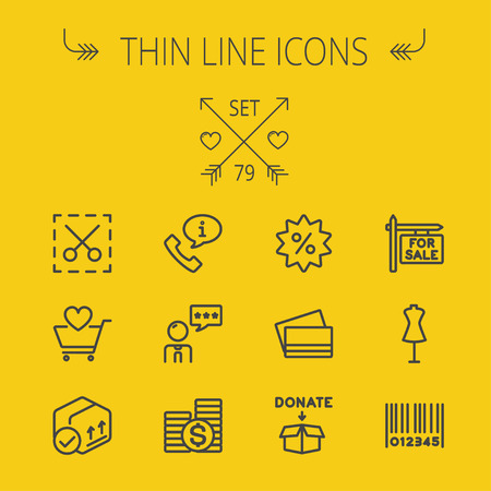 Business shopping thin line icon set for web and mobile. Set includes- stack of coins, cart with heart, box with validation, credit cards, donation box, mannequin, barcode icons. Modern minimalistic flat design. Vector dark grey icon on yellow background. Illustration
