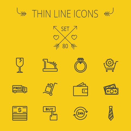 wine register: Business shopping thin line icon set for web and mobile. Set includes- broken glass wine, free delivery van, stack of money, vintage cash register, trolley, diamond ring, 24 hrs service, necktie icons. Modern minimalistic flat design. Vector dark grey ico