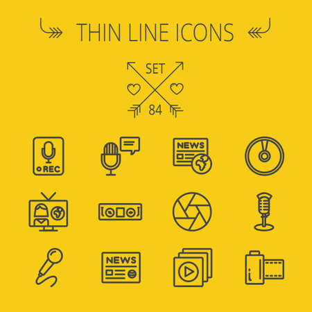 multimedia background: Multimedia thin line icon set for web and mobile. Set includes- for recording only sign, microphone, newspaper, newscaster, casette player icons. Modern minimalistic flat design. Vector dark grey icon on yellow background.