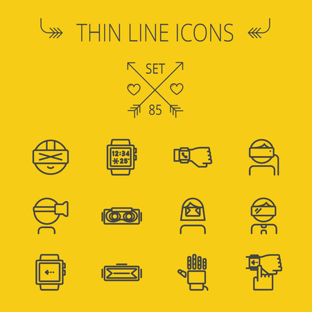 Technology thin line icon set for web and mobile. Set includes- smartwatch, virtual reality headset, wristwatch, robot hand icons. Modern minimalistic flat design. Vector dark grey icon on light grey background.