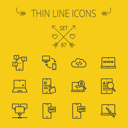 seeker: Technology thin line icon set for web and mobile. Set includes -laptop, monitor, smartphones, magnifying glass, sms, downloading, job seeker, camera. Modern minimalistic flat design. Vector dark grey icon on yellow background Illustration