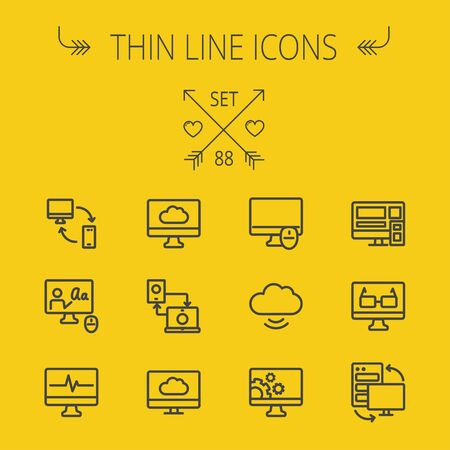 transferring: Technology thin line icon set for web and mobile. Set includes - monitors transferring data, cloud, mouse, wifi, gear, speaker. Modern minimalistic flat design. Vector dark grey icon on yellow background