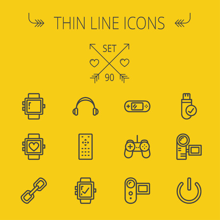 watch video: Technology thin line icon set for web and mobile. Set includes -video game, joystick, digital cam, power button, remote control, digital watch, USB . Modern minimalistic flat design. Vector dark grey icon on yellow background Illustration