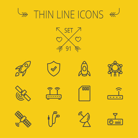 Technology thin line icon set for web and mobile. Set includes - start up, satellite, shield, router, wifi, earphone, memory card, radar. Modern minimalistic flat design. Vector dark grey icon on yellow background