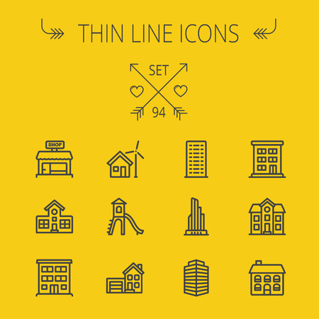 Construction thin line icon set for web and mobile. Set includes -house, playhouse, house with garage, buildings, shop store. Modern minimalistic flat design. Vector dark grey icon on yellow background