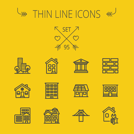 Construction thin line icon set for web and mobile. Set includes - museum, house with solar panel, bridge, building, bricks, hotel. Modern minimalistic flat design. Vector dark grey icon on yellow background Иллюстрация
